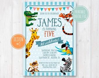 Animals Birthday Invitation, Zoo Birthday Invitation, Jungle Birthday Invitation, Safari animals invite, Jungle invite, Zoo animals invite