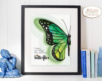 Butterfly quote, If nothing ever changed there would be no butterflies, Butterfly art, Inspirational quote, Inspiration art, Green pri