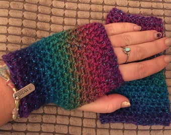 Witchy Wrist Warmers / mermaid gloves / rainbow arm warmers / fingerless mittens