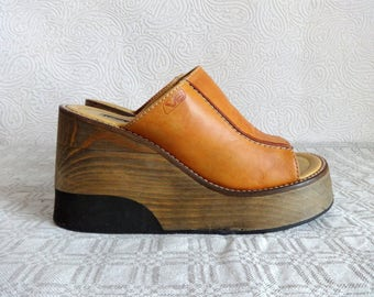 VAGABOND Wooden Platform Shoes  Brown Genuine Leather Slip Ons Shoes Women's Colgs Summer Shoes Open Toe Open Heel Vintage Wooden Platforms