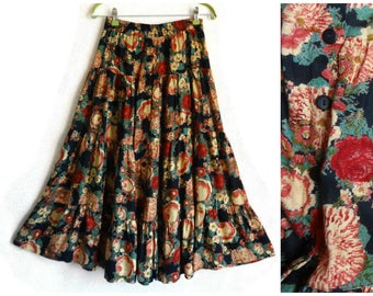 Vintage Floral Maxi Ankle Skirt Front Buttons Elastic Waist Gypsy Peasant Fashion 80s Women's Clothing Colorful Flared Skirt Printed Flowers