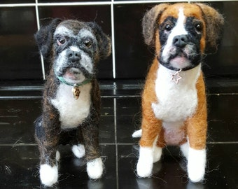 Needle felted miniature boxer dog made to order from pictures of your dog
