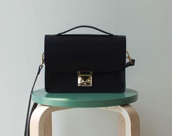 Leather Box Bag | Personalized Black Leather Bag | Smallbag Minibag Boxbag Crossbag Shoulderbag pochette |  ShinyLake