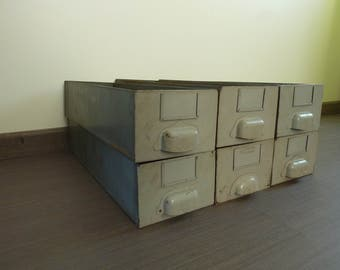 Industrial metal drawer from an old factory in candles, 1950s vintage