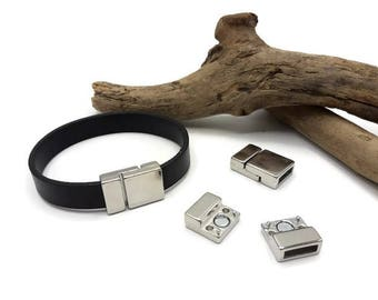 Clasps magnetic silver tone - lot 5/10 magnetic clasps for leather 10 mm - clasp bracelet-A102