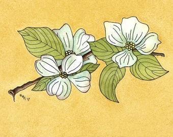 Dogwood Tree Blossoms,Spring Flowers, MargoVangoghCreates,Dogwood Flowers, Watercolor