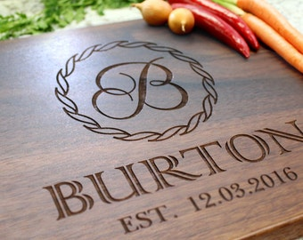 Personalized Cutting Board - Engraved Cutting Board, Custom Cutting Board, Wedding Gift, Housewarming Gift, Anniversary Gift W-018 GB