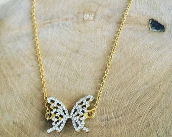 "Necklace chain charm ""Golden Butterfly"""