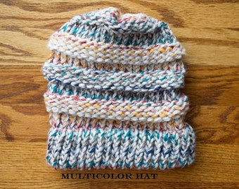 Loom Knit Multicolored Slouch Hat