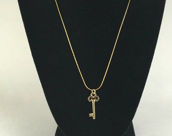 14k Gold Plated Key Charm Necklace