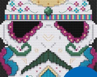 Sugar Skull Stormtrooper Cross Stitch Pattern