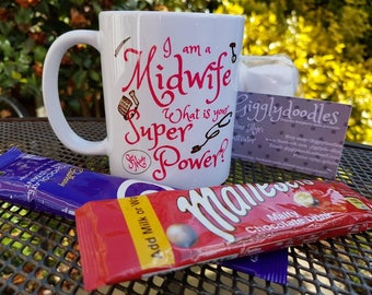 Midwife mug, I'm a midwife what's your super power mug, Midwife, super power, newly qualified midwife present