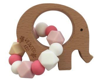 Elephant Teething ring with pink mix