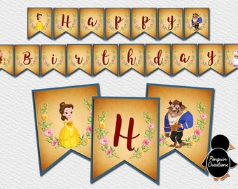 Beauty and the Beast Banner. Beauty and the Beast Birthday. Beauty and the beast party. Party Supplies. Baby Shower. DIGITAL FILE