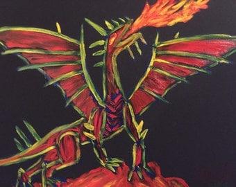 Magical Dragon Original Finger Painting Matt Kinnaman