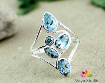 swiss blue topaz ring, swiss topaz jewellery, sky blue ring, multi cut ring, swiss blue silver ring, gift for her, 3.6 gm all ring sizes