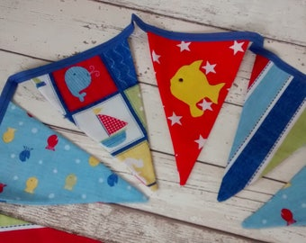 Nautical bunting, nautical flags, bunting flags, nautical garland, seaside bunting, fish bunting, boat bunting, red and blue bunting, stars