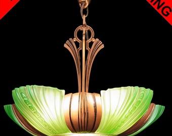 Antique Art Deco 'ALWYN' Green Glass Cast Iron 6 Light 5 Slip Shade Chandelier Pendant Lamps Ceiling Fixture c1930s