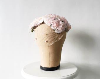 Vintage 40s 50s Pink Floral Veiled Hat Fascinator - Blush Flowered Cap
