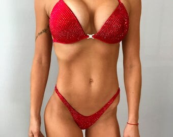 RED Velvet Bikini Suit with Crystals/Competition Suit/Posing Suit/Rhinestone Fitness