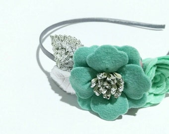 Mint Felt Flower Headband | Flower Girl Headband | Mint Themed Wedding | Baby Girls Mint Headband | Glitter Headband