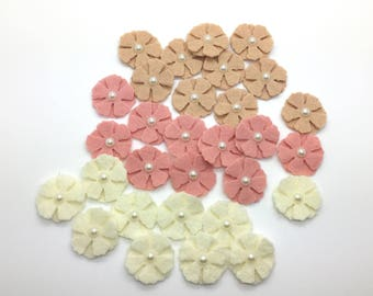 30 pcs Felt Flowers, Wool Felt Flowers, Mini Felt Flower Set.