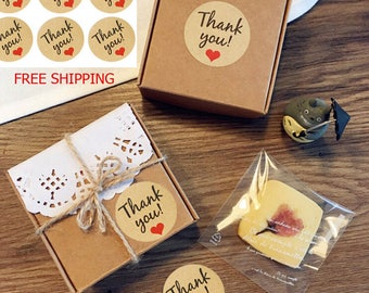 60x Kraft Paper Thank You Gift Tags wedding favor stickers, gift labels, favor labels Wedding Favors Party Accessories Select