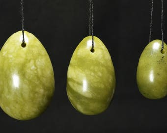 Hand Carved Green Jade Stone Yoni Eggs/one set of Three or three size to choose(L/M/S)-drilled