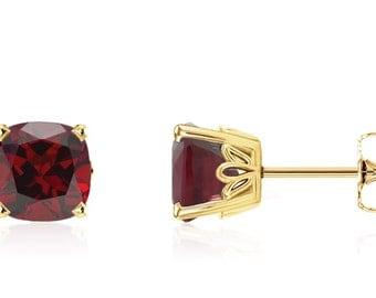 Pretty 100% 14K Yellow Gold Cushion-Cut Genuine Red Garnet Gemstone Stud Earrings - 2.75ct - 6x6mm - January Birthstone - Gift For Her