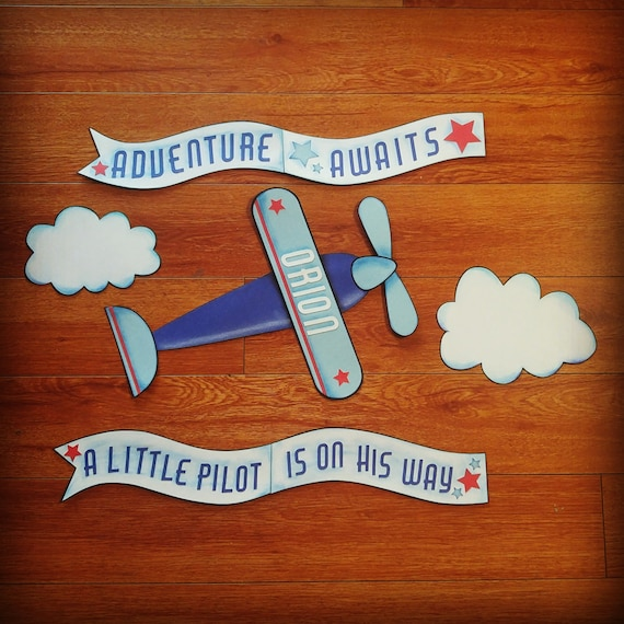 Airplane baby shower party decorations or birthday party for Airplane baby shower decoration ideas