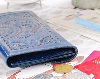 Jupiter Women Wallet Carved Wallet Women's Genuine Leather Wallet Card BLUE GIFT Handmade IBA0543