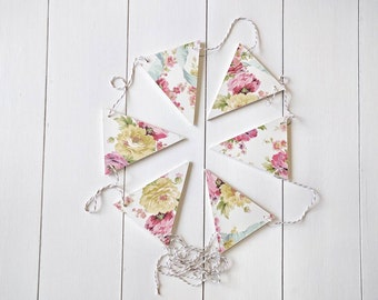 Floral Wood Bunting Flags, Wood Bunting Flags , Bunting , Bunting Flags , Garland , Flags
