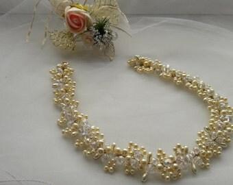 Bridal hair vine, pearl and crystal hair vine, wedding hair vine.Crystals Bridal Wedding.Golden Vine hair crown Bridal. wedding hair-vine