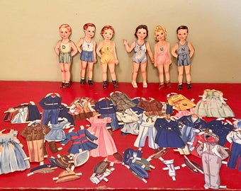 Set of 6 Paper Dolls with Outfits