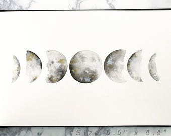 Original Moon Phases Watercolor Painting, Made-to-order Personalized Wall Art