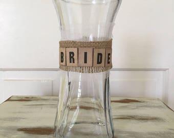rustic bride bouquet vase