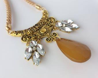 Antique gold bronze crystal jcrew teardrop pendant boho bohemian statement bib vintage retro necklace,Ecru beige necklace,long necklace