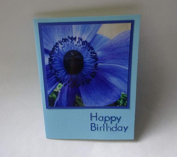 Birthday Card with Blue Anemone Flower - #1267