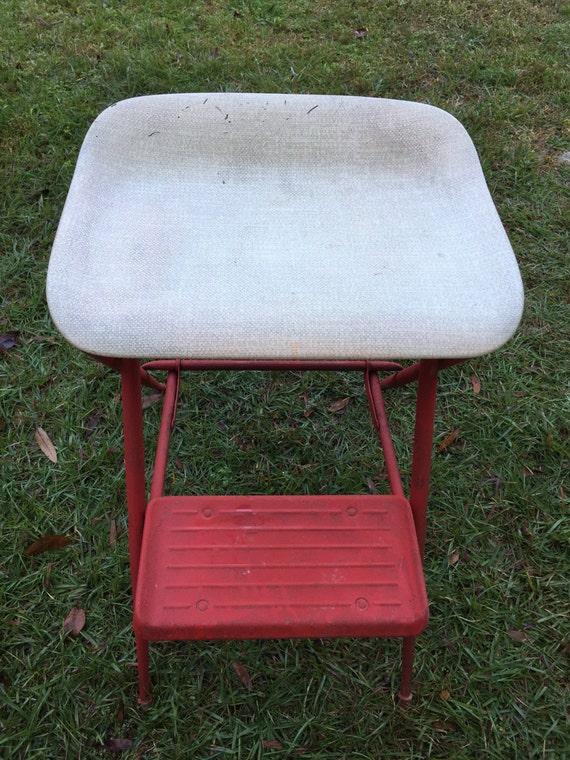 Vintage Samsonite Folding Seat Stool Metal Step Ladder