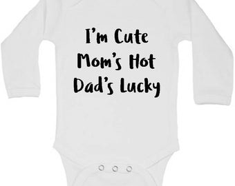 Im Your Fathers Day Gift, Fathers Day Baby Outfit, Funny Baby Clothes, Funny Baby Gifts, Cute Baby Clothes, Lucky Mama, Long Sleeve Bodysuit