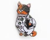 Cat enamel pin/ astronaut pin/ glow in dark pin/ space lover/ cat in a space suit/ space helmet/ cat lapel pin/ space cat pin/ cat lover pin