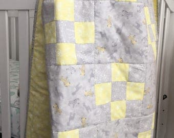 Baby Patchwork Quilt, Baby Boy/Girl Quilt, Baby Blanket, Yellow Quilt, Baby Nursery, Gray Baby Quilt