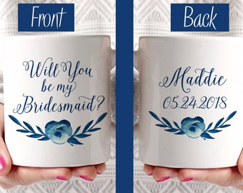 Will You be my Bridesmaid - Bridesmaid Proposal Bridesmaid Mug Watercolor Floral Mug - Bridesmaid Gift - Cotton Blossom Watercolor Mug Blue