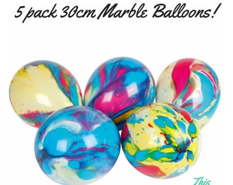 Marble Birthday Party Balloons 5 PK - FREE POSTAGE -  Rainbow Carnival Circus Tie Dye 60's 70's Decorations