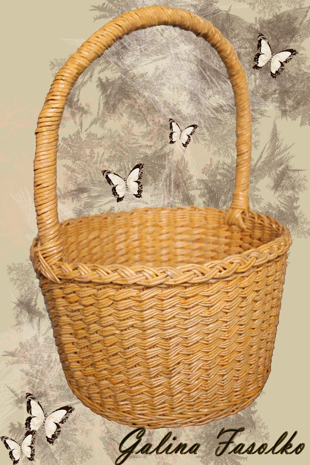 Large Round Wicker Baskets With Handle : Round wicker basket classic with