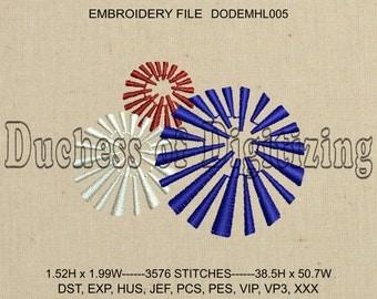 Fireworks Embroidery Design, Fireworks Embroidery File, 4th of July Embroidery Design, 4th of July Embroidery File, DODEMHL005