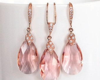 Blush Soft Peach Pear Crystal & Rose Gold Necklace Earrings Set (Sparkle-2106)