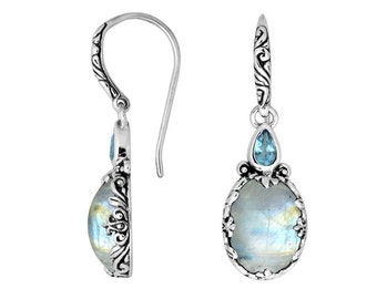 bali moonstone blue topaz sterling silver earring