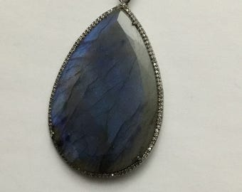 Pave diamond sterling silver labrorite pendant