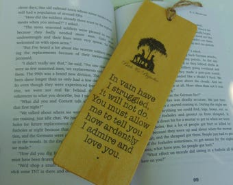 Jane Austen Bookmark Wooden I love You Most Ardently